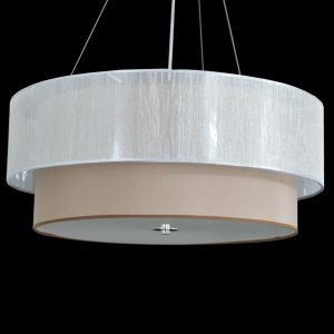 Pendente de Duas Cúpulas Marrom e Cinza - Suporte para 6 lâmpadas - 60cm