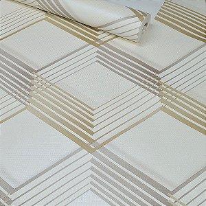 Papel de Parede Geométrico Pérola com Detalhes em Dourado e Marrom Acinzentado