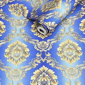 Papel de Parede Azul com Damask Dourado