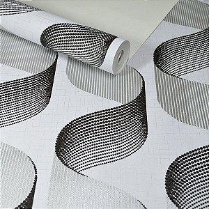 Papel de Parede Efeito 3D Cinza com Preto e Prateado