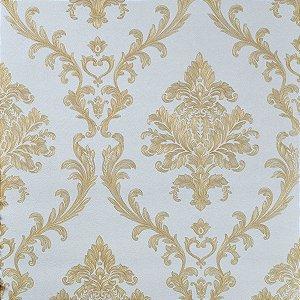 Papel de Parede Offwhite com Damask em Dourado (toque de Glitter)