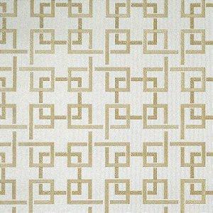 Papel de Parede Bege com Desenhos Geométricos Dourado (toque de Glitter)
