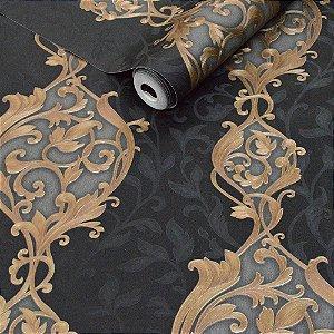 Papel de Parede Preto com Detalhes em Chumbo e Dourado (Toque de Glitter)