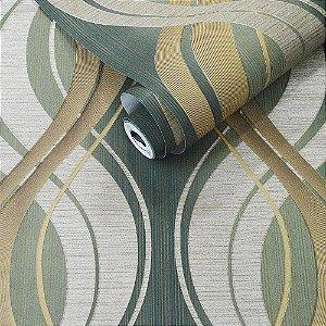 Papel de Parede Verde com Detalhes Dourados