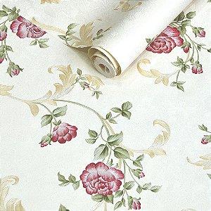 Papel de Parede Fundo Pérola com Flores Rosas e Ramos Dourado Claro