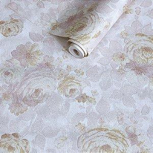 Papel de Parede Rosa chá com Flores Rosas