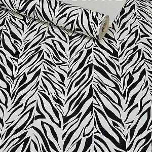 Papel de Parede Contemporâneo Zebra Listrado Preto e Branco