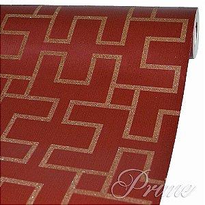 Papel de Parede Quadrados Vermelho com Dourado