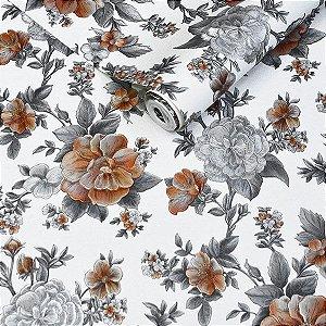 Papel de Parede Branco Com Flores em Prateado e Dourado