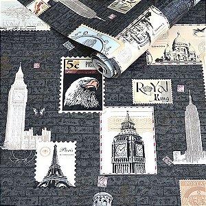 Papel de Parede Grafite com Textura de Selos