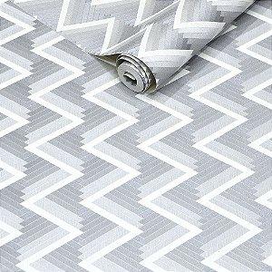 Papel de Parede Vinílico Importado Textura Geométrica Cinza Claro