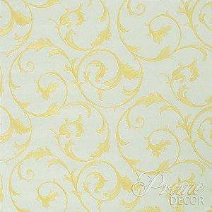 Papel de Parede Creme Claro com Arabescos Amarelo Ouro