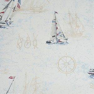 Papel de Parede Branco com Barcos Azul e Vermelho