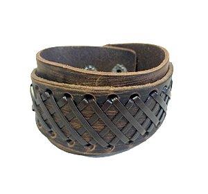 Bracelete de Couro Marrom com Detalhe Tramado - BC02-M