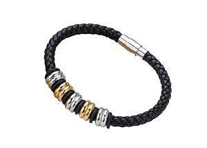Pulseira de Couro Preto com 5 Beads Prata e Ouro - PC58-A