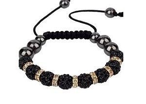 Pulseira Ajustável com Bolinhas e Beads de Cristais - PP31