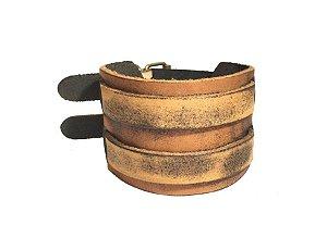 Bracelete de Couro legitimo Matizado em Tons Marrom-BC04-2