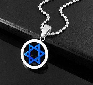 Colar com Pingente Estrela de Davi Azul em Aço - CA04-D