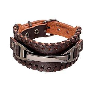 Bracelete de Couro Com Fivela Em Metal Grafite - BC06