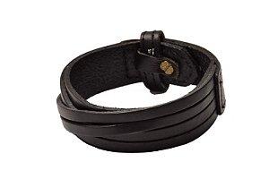 Bracelete de Couro Legítimo Preto Trançado - BC03