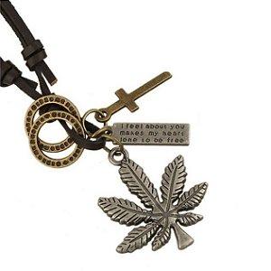 Colar de Couro Marijuana - CC52