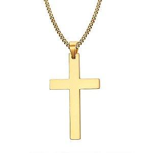 Colar de Aço Masculino Cruz Latina Banhada A Ouro 18k- CA20