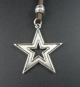 Colar de couro Estrela Stars CC14