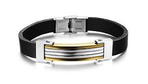 Pulseira de Couro e Aço com Filetes Banhados a Ouro 18k - PCL11-B