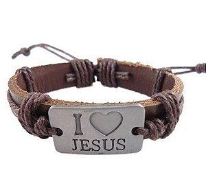 Pulseira de Couro Ajustável com Placa de Aço: Eu amo Jesus - PC47-1