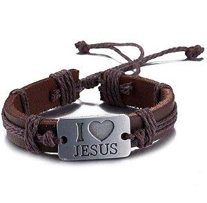 Pulseira de Couro Ajustável com Placa de Aço: Eu amo Jesus - PC47