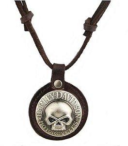 Colar de Couro e Metal - Harley-Davidson Skull - CC21