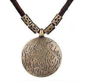 Colar de Couro Ajustável e Pingente Mandala Bronze - CC17