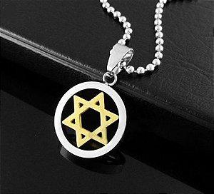 Colar com Pingente Estrela de Davi Dourada em Aço - CA04-A