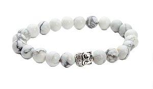 Pulseira Masculina Tibetana de Pedra Turmalina Branca com Buda Prata - PP04