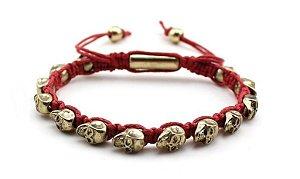 Pulseira Shambala Vermelha com Caveira Dourada - PP30