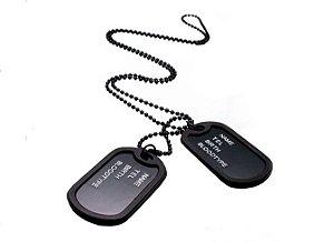 Colar Dog Tag Militar Preto com Silenciador - CA02