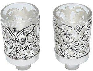 Conjunto de portas velas Zamac em luxo 2 unid