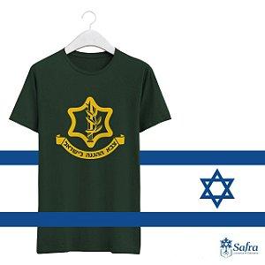 Camiseta com simbolo Tsavá, Haganá L´Israel - Cor Verde - Tamanhos GG.