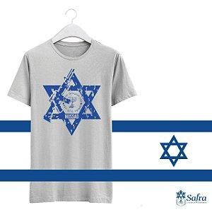 Camiseta com simbolodo do Mossad - Cinza- Tamanho P.