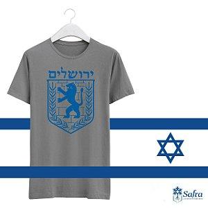Camiseta com simbolo de Jerusalém - Cor cinza- Tamnhos P.