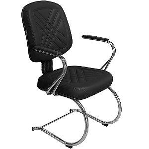 """Cadeira Diretor Fixa com Pés em """"S"""" e Braços Cromado PD04 - Pethiflex"""