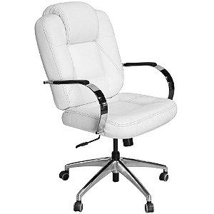 Cadeira Mônaco Luxo Giratória Branca com Costura Preta para Recepções e Clínicas - Pethiflex