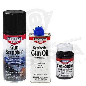Kit Limpeza Total ( Solventes Bore Scrubber e Gun Scrubber  + Lubrificante Gun Oil)