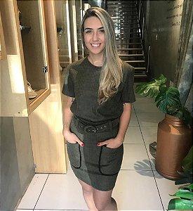 Mini saia Suede Xadrez