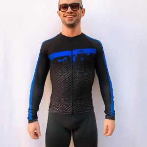 CAMISA CICLISMO ELITE CARBON AZUL ML