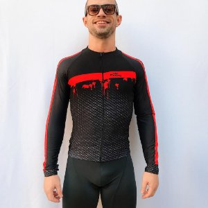 CAMISA CICLISMO ELITE CARBON VERMELHA ML