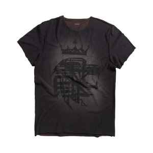 T-SHIRT DOUBLE FACE LION CORROSIE / PRETO