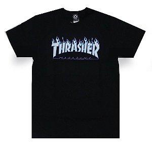 Camiseta Thrasher Flame Logo Sky Preto