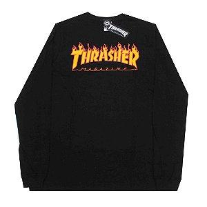 Camiseta Thrasher Manga Longa Frame Logo Preto