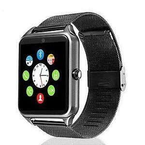 553c86df8f8 Relógio Smartwatch Z60 Celular Inteligente Touch Bluetooth Chip Ligações  SMS Pedômetro Câmera - PRETO